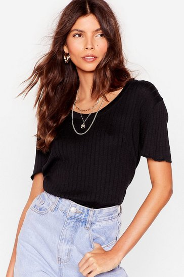 Black Knit's Kinda Cute Ribbed Tee