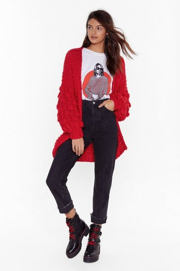 Red Knit's Not Unusual Chunky Cardigan