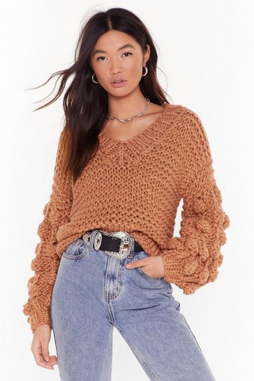 Womens Camel Get Knit On V-Neck Pom Pom Sweater