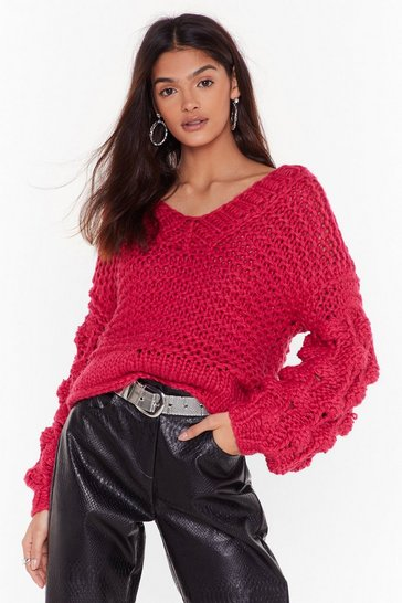 Womens Raspberry Get Knit On V-Neck Pom Pom Sweater