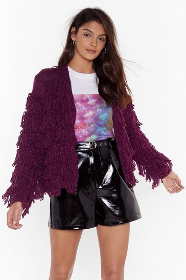 Womens Wine Gimme More Shaggy Cardigan