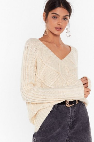 Womens Cream V My Forever Cable Knit Sweater