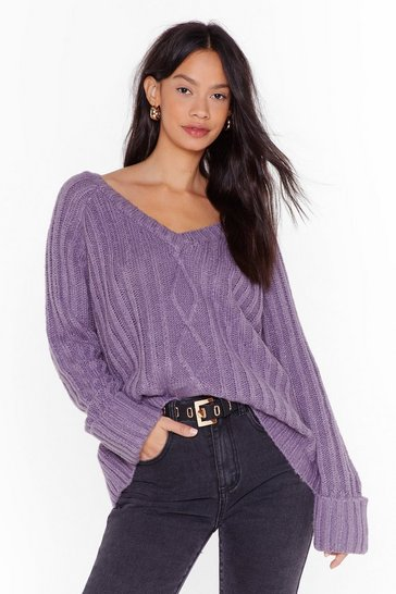 Lilac Let's V What Happens Cable Knit Sweater
