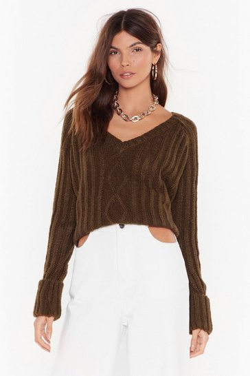Olive Let's V What Happens Cable Knit Sweater
