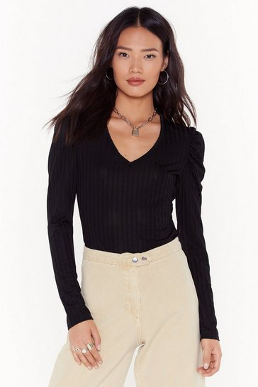 Womens Black MS slinky rib puff sleeve plunge top