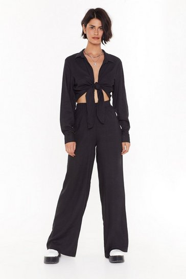 Womens Black 32 You Caught My Tie Wide-Leg Pants