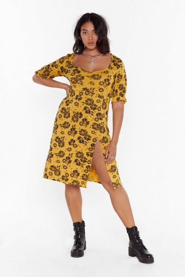 Womens Mustard Grow Above 'N' Beyond Plus Floral Dress