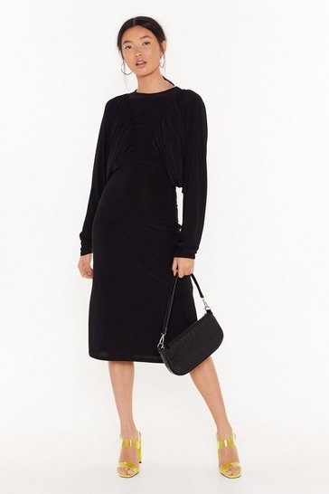 Black Just Wingin' It Batwing Midi Dress