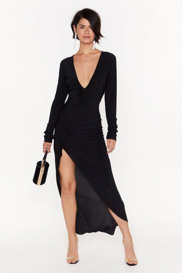 Womens Black Open to Anything Plunging Maxi Dress
