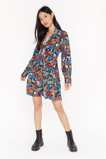 Womens Black Gimme Your Floral Relaxed Dress