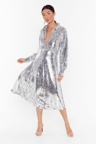 Womens Silver Welcome to Tinseltown Sequin Maxi Dress