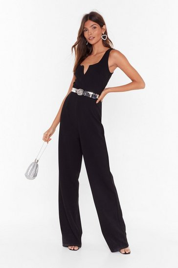 Womens Black Notch Staying In Wide-Leg Jumpsuit