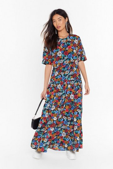 Womens Black Gimme Your Floral Relaxed Maxi Dress