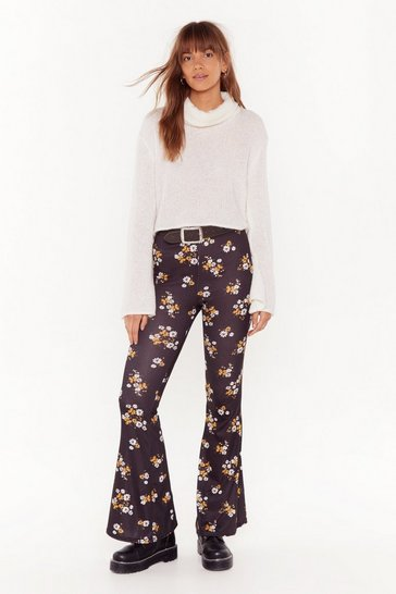 Womens Black Growing Up Floral Flare Pants