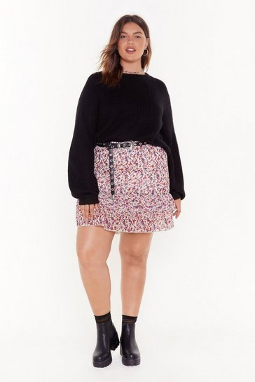 Cream Double the Ruffle Plus Floral Skirt