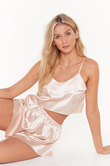 Womens Nude Energy Saving Mode Satin Pajama Short Set