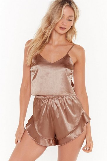 Womens Beige Energy Saving Mode Satin Pajama Short Set