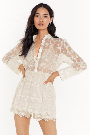 Womens Cream Lace Have It Floral Mesh Romper