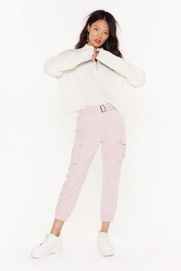 Pink Don't Pocket Belted Cargo Pants