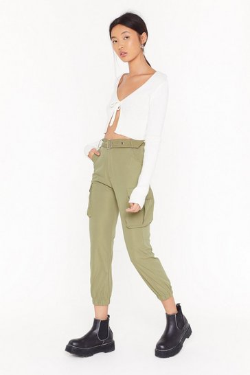 Womens Sage Don't Pocket Belted Cargo Pants