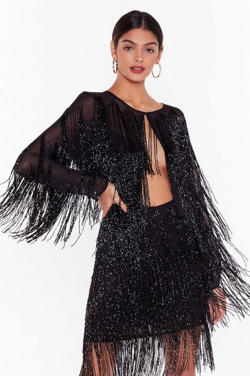 Womens Black Nasty Gal Studio Bead It Fringe Jacket
