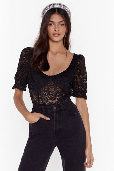 Womens Black It's All Cup to You Lace Bodysuit