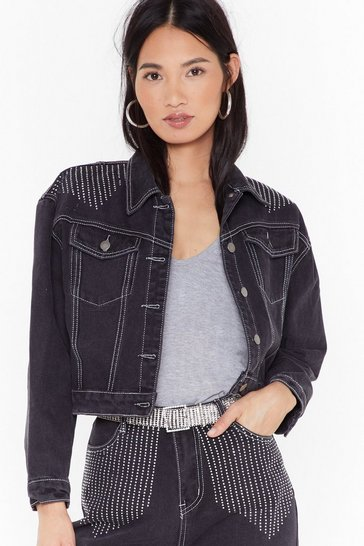 Womens Black Take Control of the Stitch-uation Diamante Denim Jacket