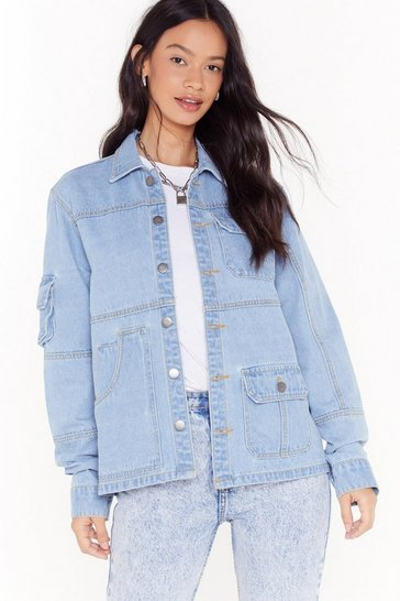 Light blue Pocket With the Program Oversized Denim Jacket