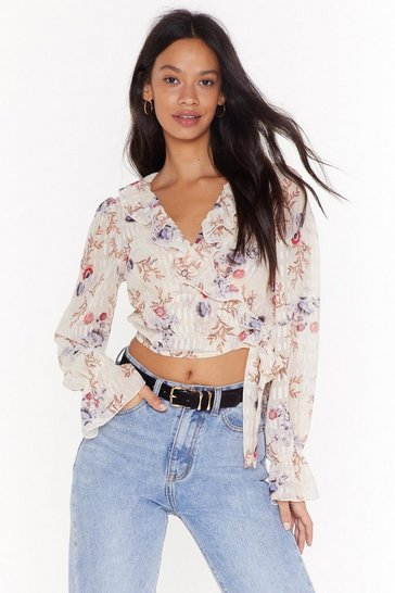 Cream Sheer Floral ruffle blouse