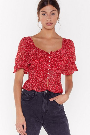 Red That's Flower Girl Floral Cropped Blouse