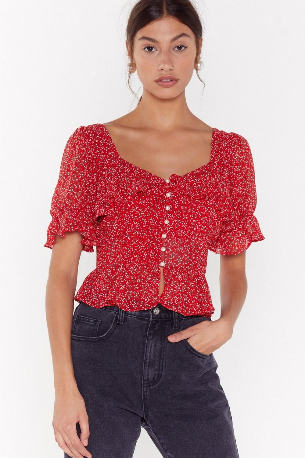 That's Flower Girl Floral Cropped Blouse by Nasty Gal
