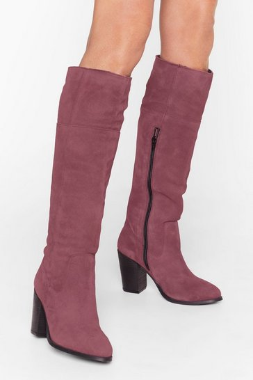 Burgundy We Finally Suede It Knee-High Heeled Boots