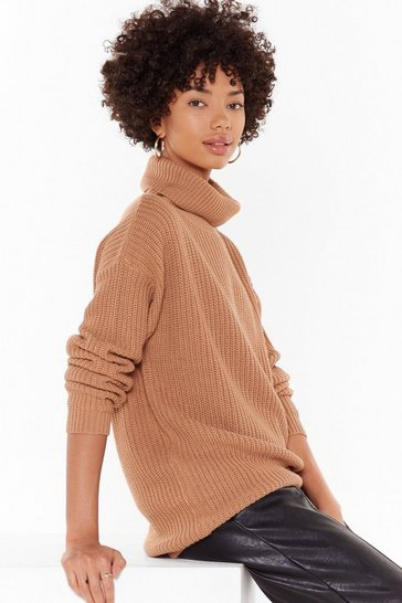Womens Biscuit roll neck fishermanjumper