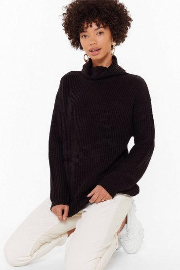 Womens Black Let the Goodtimes Roll Knitted Longline Sweater