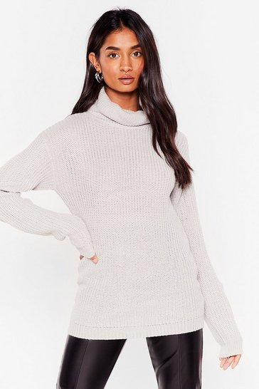 Silver grey Let the Goodtimes Roll Longline Sweater