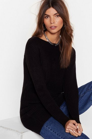 Womens Black Hands Off-the-Shoulder Knitted Sweater