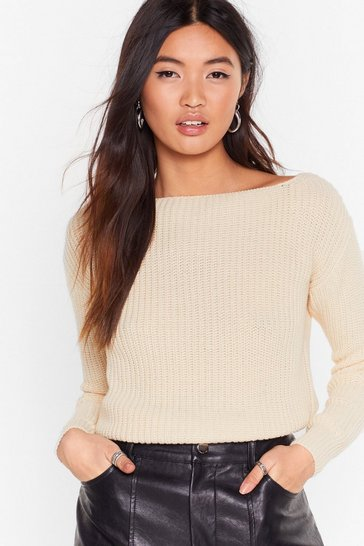 Womens Ecru Hands Off-the-Shoulder Knitted Sweater