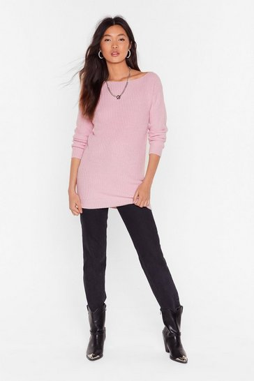 Pastel pink Hands Off-the-Shoulder Knitted Sweater