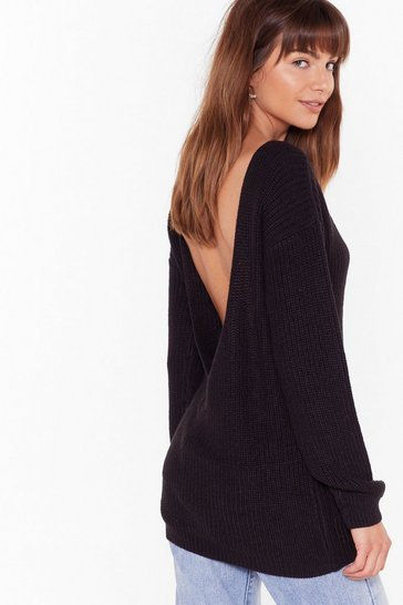 Black Backless Long Sleeve Knit Sweater