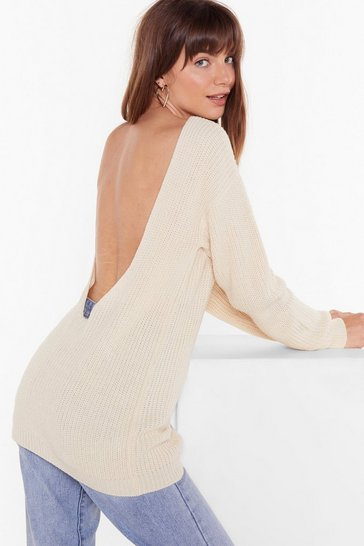 Ecru Wine and Dine V Open Back Knit Sweater