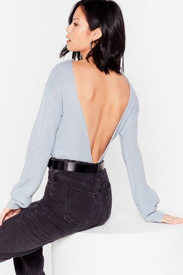 Pastel blue Backless Long Sleeve Knit Sweater
