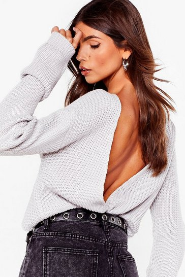 Silver grey Wine and Dine V Open Back Knit Sweater