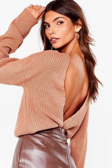 Tan Wine and Dine V Open Back Knit Sweater