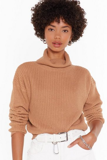 Biscuit Knitted Rib Turtleneck Cropped Sweater