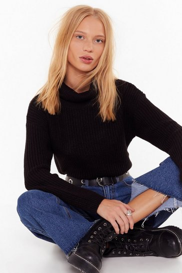 Black Knitted Rib Turtleneck Cropped Sweater