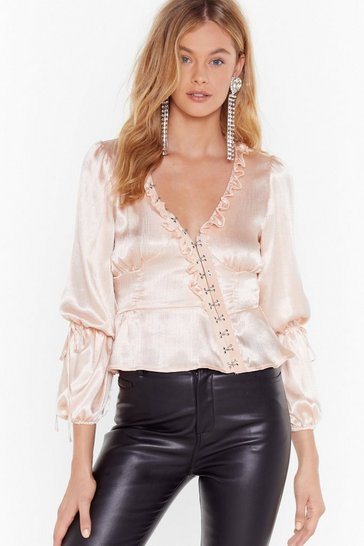 Womens Nude Let Me Off the Hook and Eye Satin Blouse