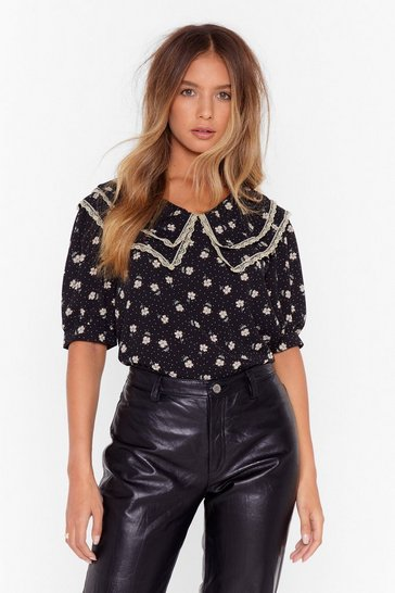 Womens Black Floral lace trim collar blouse