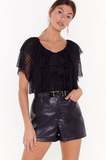 Womens Black Lace Move It Ruffle Blouse