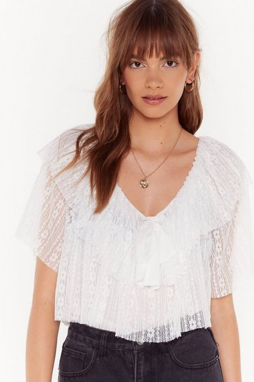 Womens Cream Lace Move It Ruffle Blouse
