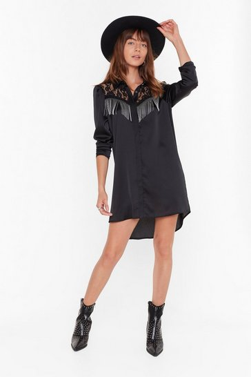 Womens Black Lace Get This Party Started Fringe Shirt Dress